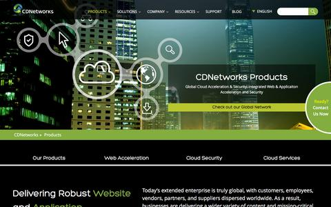 Screenshot of Products Page cdnetworks.com - Global Cloud Acceleration | CDNetworks - captured July 3, 2016