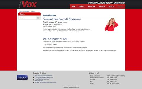 Screenshot of Support Page ivox.com.au - Support - iVox Communications - captured Oct. 6, 2014
