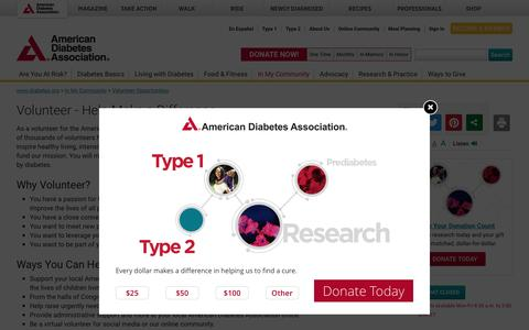 Volunteer - Help Make a Difference: American Diabetes Association®