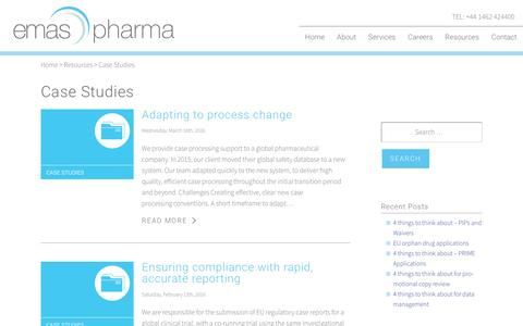 Screenshot of Case Studies Page emaspharma.com - Case Studies Archives - Emas Pharma - captured May 17, 2017