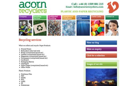 Screenshot of Services Page acornrecyclers.com - acorn recyclers uk - environmental recycling paper plastic based in Leicester - captured Feb. 5, 2016