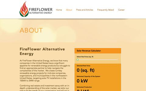 Screenshot of About Page fireflower-alternative-energy.com - FireFlower Alternative Energy | About - captured Aug. 13, 2018