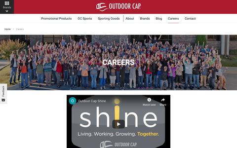 Screenshot of Jobs Page outdoorcap.com - Careers | Outdoor Cap Company - captured Oct. 18, 2018