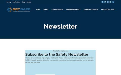 Screenshot of Signup Page getsafeusa.com - Newsletter – Get Safe - captured July 9, 2017