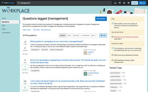 Screenshot of Team Page stackexchange.com - Newest 'management' Questions - The Workplace Stack Exchange - captured Feb. 22, 2020