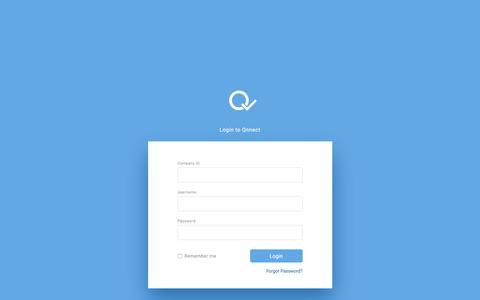 Screenshot of Login Page qnnect.com - Qnnect - captured Nov. 9, 2016
