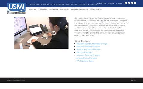 Screenshot of Jobs Page usmedinnovations.com - Careers - US Medical Innovations - captured Oct. 18, 2018