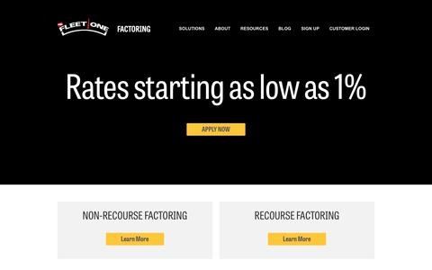 Screenshot of Home Page fleetonefactoring.com - Factoring Solutions for Fleets          Fleet One Factoring - captured July 7, 2018