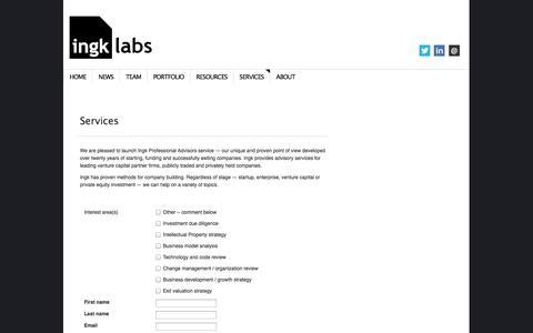 Screenshot of Services Page ingk.com - Services | Ingk Labs - captured Sept. 16, 2014
