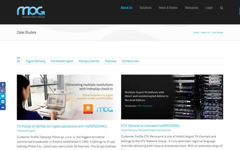Screenshot of Case Studies Page mog-technologies.com - Case Studies | MOG Customers and Partners - captured Nov. 18, 2016