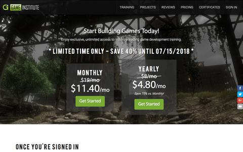 Screenshot of Pricing Page gameinstitute.com - Enroll in Game Institute - Study Game Art and Programming - captured July 16, 2018