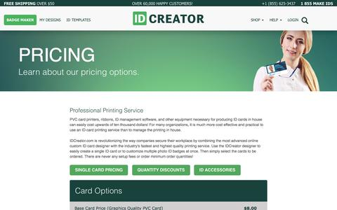 Screenshot of Pricing Page idcreator.com - IDCreator Pricing | The Easiest Way to Make ID Badges | 855-MAKE-IDS - captured May 17, 2017