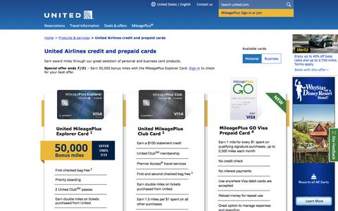 Screenshot of united.com - MileagePlus Credit Cards | United Airlines - captured July 29, 2017
