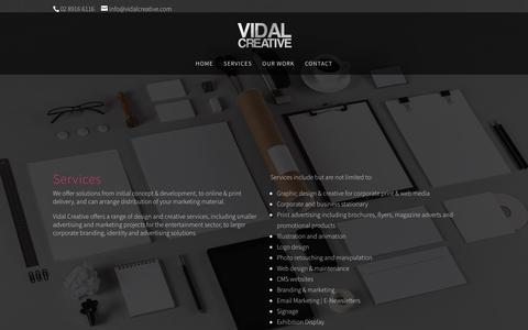 Screenshot of Services Page vidalcreative.com.au - Services | Vidal Creative - captured July 5, 2018