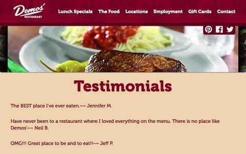 Screenshot of Testimonials Page demosrestaurants.com - Family Dining - Italian Food - American food - Family Style -  Testimonials - Demos' Restaurant - captured Aug. 6, 2018