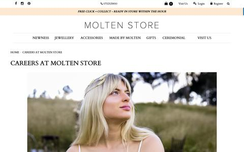 Screenshot of Jobs Page moltenstore.com - CAREERS AT MOLTEN STORE - captured Oct. 20, 2018