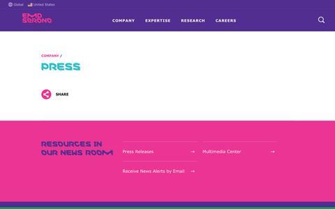 Screenshot of Press Page emdserono.com - Press - Company   EMD Serono - captured Sept. 25, 2018