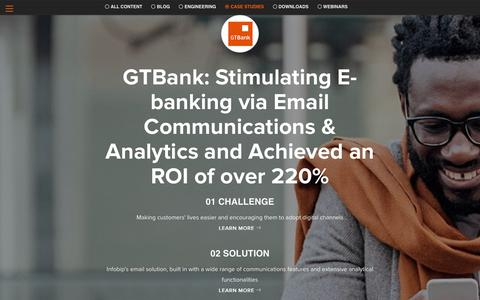 Screenshot of Case Studies Page infobip.com - GTBank: Stimulating E-banking via Email Communications & Analytics and Achieved an ROI of over 220% - captured June 13, 2019