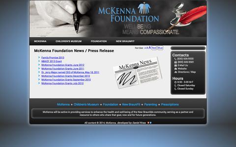 Screenshot of Press Page mckenna.org - McKenna Foundation News - captured Oct. 27, 2014