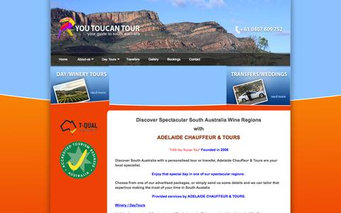Screenshot of Home Page youtoucantour.com.au - Flinders Ranges Tours, South Australian Outback Tours, Winery Tours, Airport Transfers | You Toucan Tour - captured Oct. 1, 2014