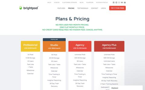 Screenshot of Pricing Page brightpod.com - Brightpod Pricing - captured June 30, 2017