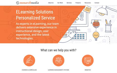 Screenshot of Home Page monarchmedia.com - eLearning Solutions, eLearning Companies | Monarch Media, Inc. Santa Cruz, CA - captured March 17, 2019
