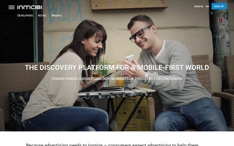 Screenshot of Home Page inmobi.com - InMobi | Mobile Discovery Commerce | Monetization | Advertising - captured Feb. 13, 2016
