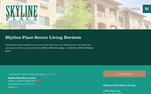 Screenshot of Testimonials Page milestoneretirement.com - Senior Living Resources | Skyline Place Senior Living - captured Jan. 25, 2017