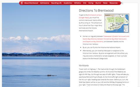 Screenshot of Maps & Directions Page brentwood.bc.ca - Brentwood College School -Directions to Brentwood - captured Oct. 11, 2017