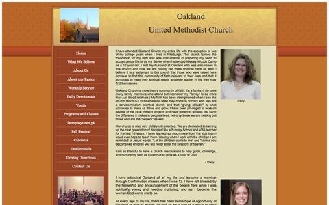 Screenshot of Testimonials Page oaklandum.com - United Methodist, Oakland United Methodist Church Oil City, PA Testimonials - captured Oct. 27, 2014