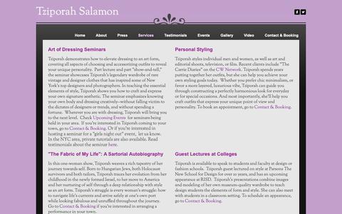 Screenshot of Services Page tziporahsalamon.com - Services - Tziporah Salamon - captured Oct. 18, 2018