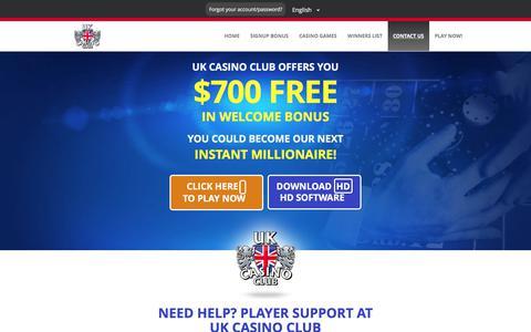 Screenshot of Contact Page ukcasinoclub.eu - Support Center at UK Casino Club - captured Nov. 19, 2017