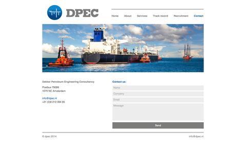 Screenshot of Contact Page dpec.nl - Contact | DPEC - captured Sept. 30, 2014