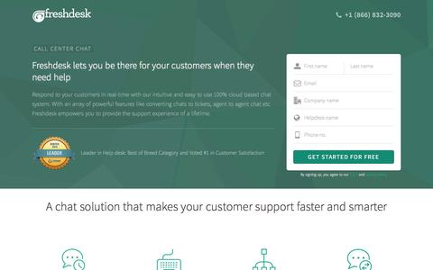 Screenshot of Landing Page freshdesk.com - Call Center Chat | 100% cloud based chat solution from Freshdesk - captured Oct. 3, 2016