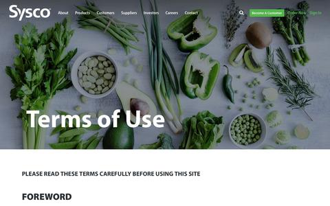 Screenshot of Terms Page sysco.com - Terms of Use - captured Oct. 24, 2018