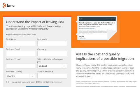 Screenshot of Landing Page bmc.com - Understand the impact of migrating from your legacy IBM mainframe platform - BMC Software - captured Dec. 14, 2019