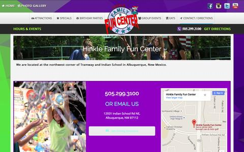 Screenshot of Contact Page Maps & Directions Page hinklefamilyfuncenter.com - Directions & Hours | Hinkle Family Fun Center | Albuquerque - captured July 15, 2016