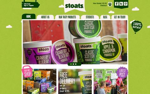 Screenshot of Home Page eatstoats.com - Stoats…tasty, natural porridge oat products! - captured Oct. 7, 2014