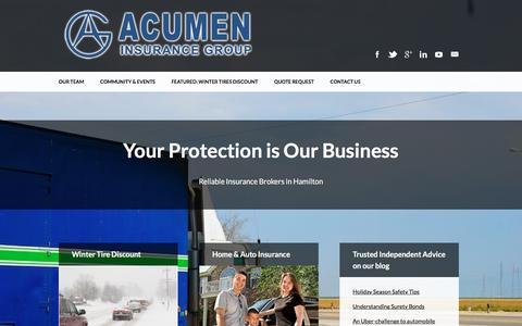 Screenshot of Home Page acumeninsurance.com - Reliable Insurance Brokers in Hamilton - Acumen Insurance Group - captured Feb. 5, 2016