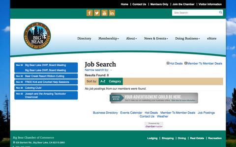 Screenshot of Jobs Page bigbearchamber.com - Job Search - Big Bear Chamber of Commerce, CA - captured Nov. 22, 2016