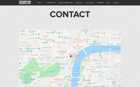 Screenshot of Contact Page startupmanufactory.com - Startup Consulting, Entrepreneurship Training, Private Sector Development - captured Nov. 7, 2018