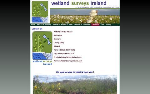 Screenshot of Contact Page wetlandsurveysireland.com - Contact Us   Title - captured Oct. 7, 2014