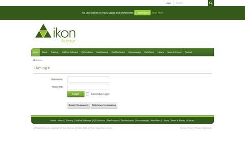 Screenshot of Login Page ikonscience.com - User Log In - captured Jan. 8, 2016