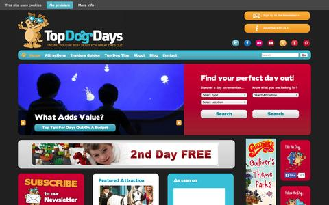 Screenshot of Home Page topdogdays.com - TopDogDays – Discounts and deals for days out in the UK - captured Sept. 24, 2014