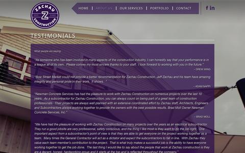 Screenshot of Testimonials Page zachauconstruction.com - TESTIMONIALS - Zachau Construction - captured Oct. 27, 2014
