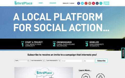 Screenshot of Home Page thrdplace.com - ThrdPlace - captured Sept. 17, 2014