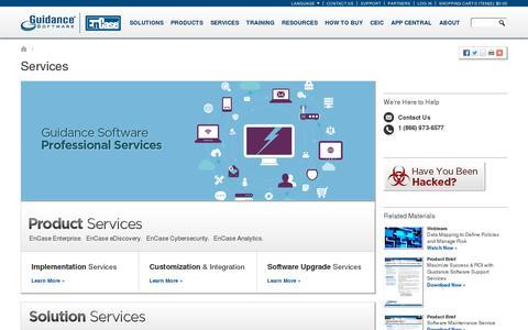 Screenshot of Services Page guidancesoftware.com - EnCase Professional Services - captured July 18, 2014