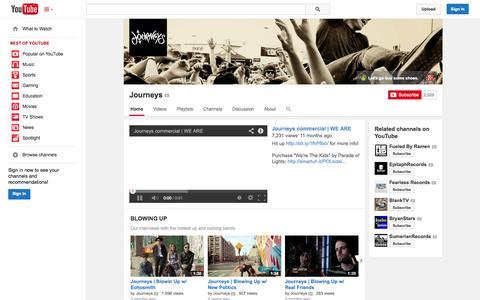 Screenshot of YouTube Page youtube.com - Journeys  - YouTube - captured Oct. 26, 2014