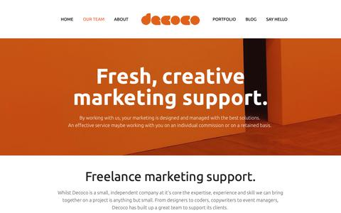 Screenshot of Team Page decoco.co - Decoco's marketing team - in-house, freelance support and full agency — Decoco - captured Feb. 17, 2019