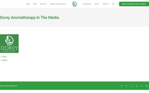 Screenshot of Press Page doreyaromatherapy.com - Dorey Aromatherapy in the Media - Dorey AromaTherapy - captured Nov. 6, 2018